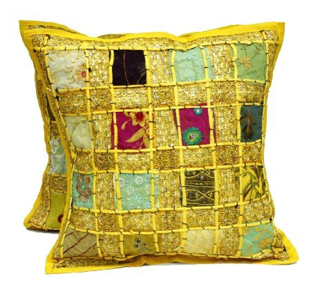 (Krishna Mart India 2 Pc Yellow Embroidery Sequin Patchwork Indian Sari Throw Pillow Cases Cushion Covers)