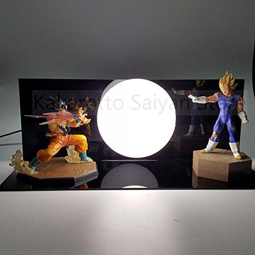 Dragon Ball Z Action Figures Son Goku vs Evil Vegeta Super Saiyan Anime Dragon Ball Light Model Toy DBZ +Bulb+Base