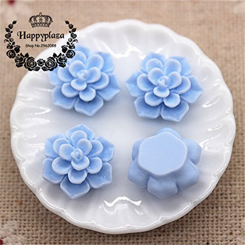 ZAMTAC 50PCS Cute Matte Vintage Resin Flowers Flatback Cabochon DIY Jewelry/Craft Scrapbooking,15mm - (Color: Blue 50pcs) ()