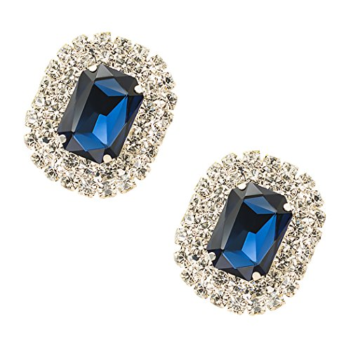 Lot de 2 boucles TOOKY - Pierre de cristal - Boucles pour chaussures, sac, robe ou décoration de fête noir foncé