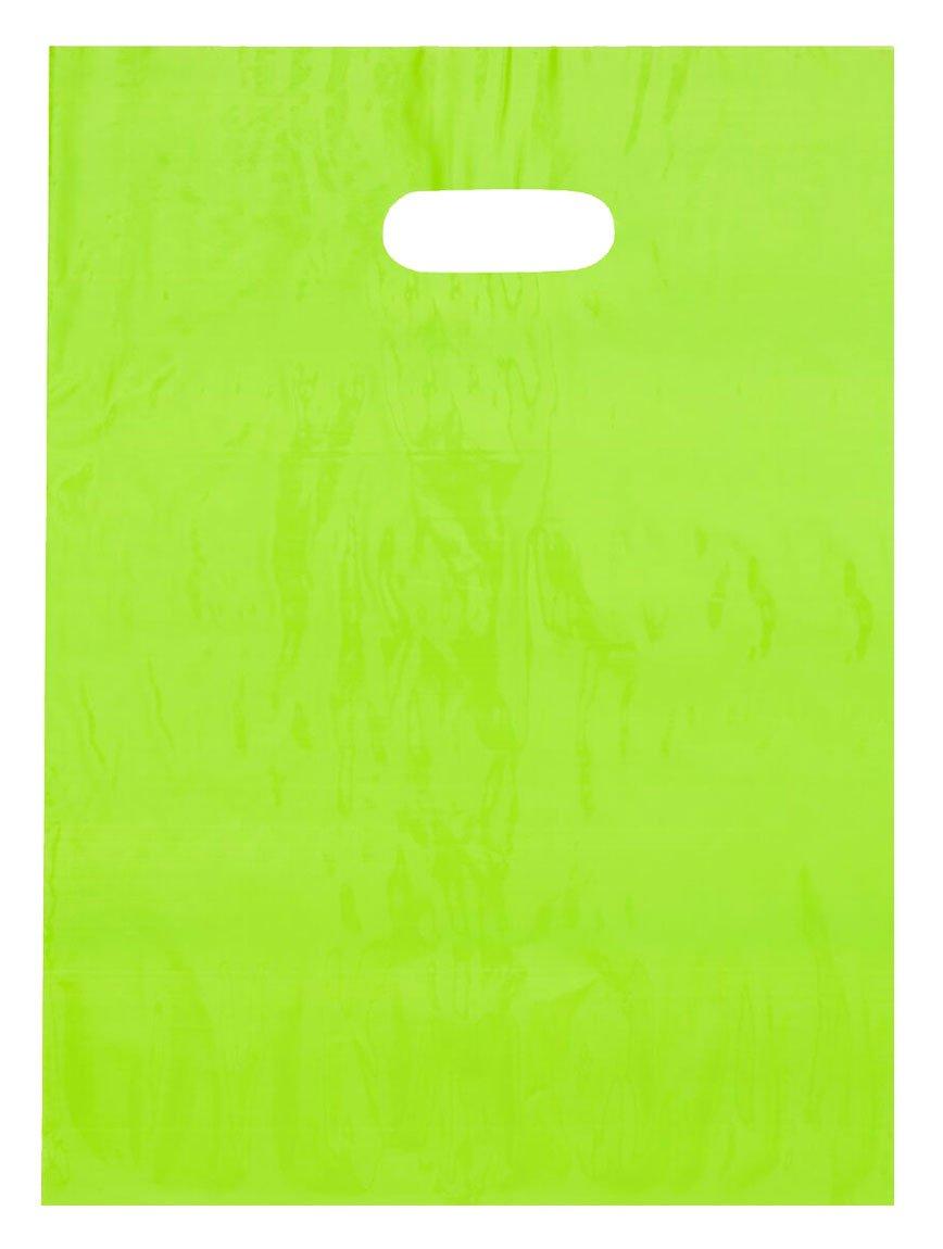9x12 Lime Green Die Cut Handle Plastic Shopping Bags 100/cs