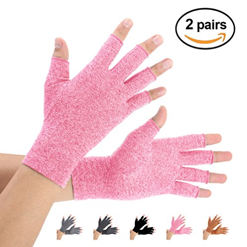 Arthritis Gloves 2 Pairs  Compression Gloves Support And Warmth For Hands  Finger Joint  Relieve Pain From Rheumatoid  Osteoarthritis  Rsi  Carpal Tunnel  Tendonitis  Women And Men  Pink  Medium