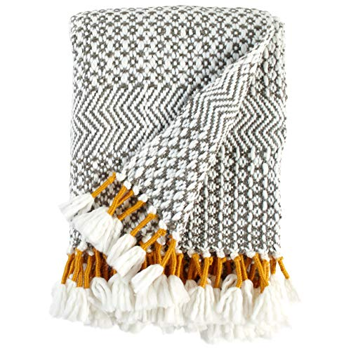 Rivet Modern Hand-Woven Stripe Fringe Throw Blanket