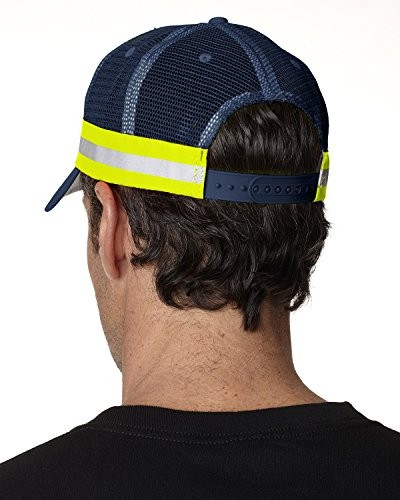 Adams Trucker Reflector High-Visibility Constructed Cap (TR102)-Navy,One Size