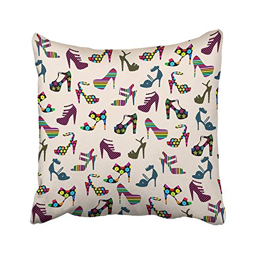Emvency Decorative Throw Pillow Covers Cases Colorful Cool Heeled Shoes Woman Ladies High Heels Pattern Women Collection Abstract 16x16 inches Pillowcases Case Cover Cushion Two Sided