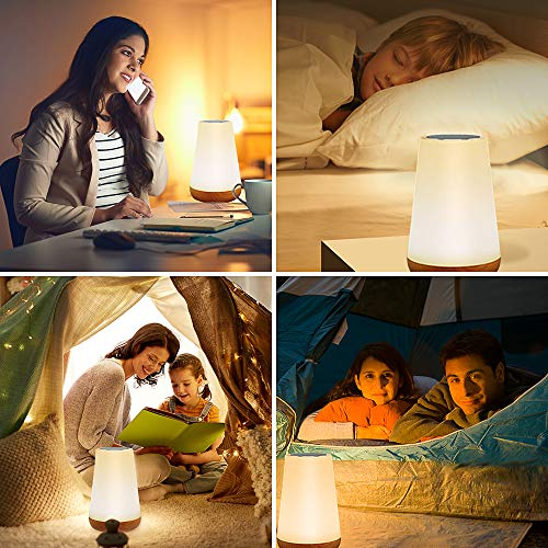 Table Lamp Touch Night Light - Portable Sensor Remote Control Bedside Lamps with Quick Rechargeable USB Dimmable Warm White Light 13 Colors RGB Table Lamp for Bedroom Living Room Office (White)