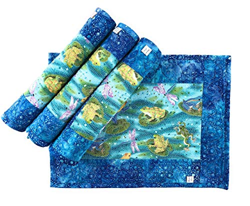Blue Frogs Lily Pad Dragonflies Mosaic Placemats 13 x 17 Inches Set of 4
