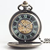 Zxcvlina Classic Smooth Creative Roman Numberals Black Dial Mechanical Pocket Watch Bronze with Chain Retro Unisex Pocket Watch Suitable for Gift Giving