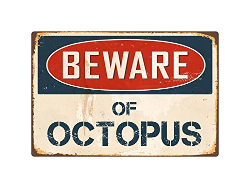 "Beware of Octopus 8"" x 12"" Vintage Aluminum Retro Metal Sign"