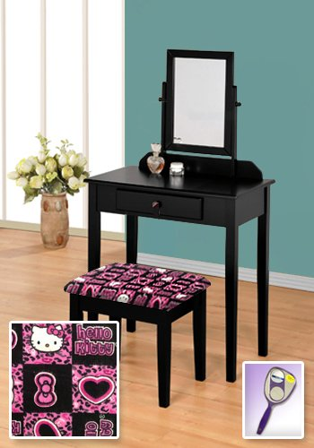 New Black Wooden Make Up Vanity Table with Mirror & Hello Kitty Themed Bench ()