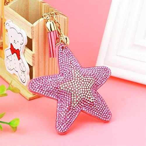 - Rarido Fashion Jewelry Cute Women Key Chain Key Cover Rhinestone Inlaid Leather Tassel Star Fish Key Cap Gift Colors Wholesale - (Color: Pink)