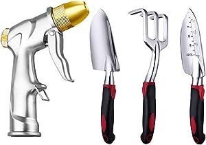 FANHAO Upgrade Garden Hose Nozzle Sprayer+Garden Tool Set