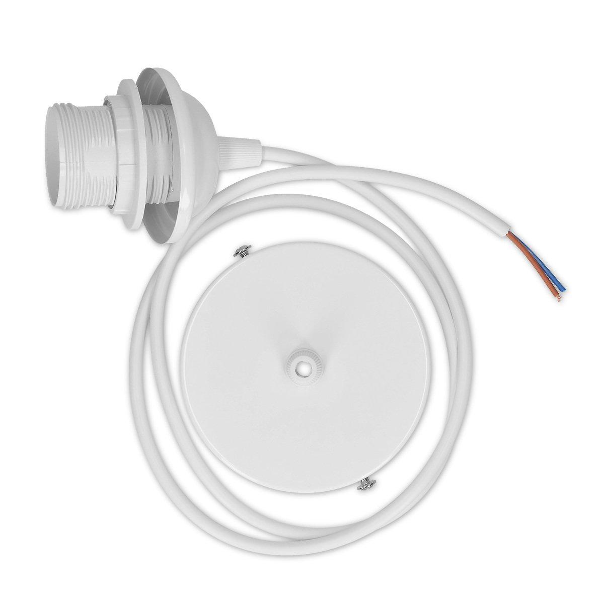 kwmobile 2x câble électrique pour lampe - Câble avec douille E27 et bague de fixation - Monture de suspension pour luminaire plafond - Blanc KW-Commerce 45541.02_m000152