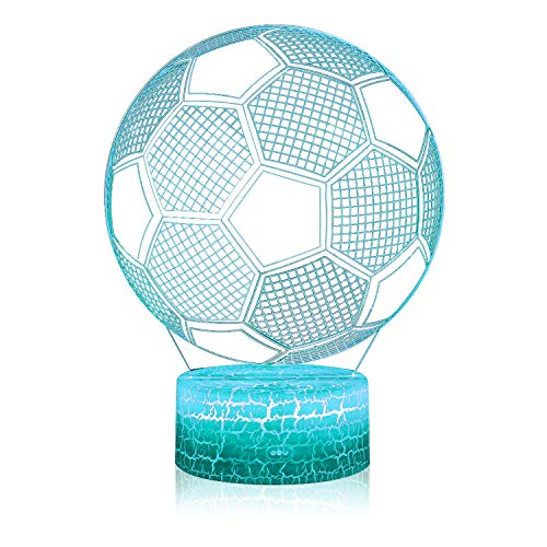3D Illusion Soccer Night Lamp, 7 Color Change, Touch White Crack Base, Power by AA Batteries