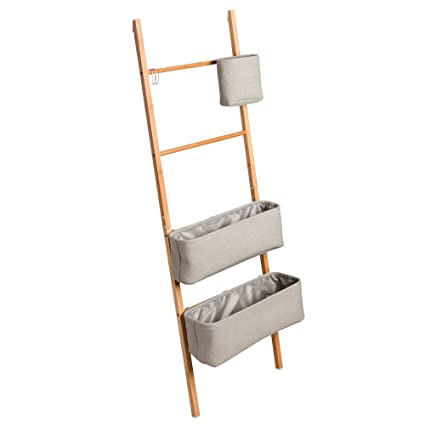 Perfect InterDesign Formbu Wren Free Standing Bathroom Storage Ladder With Bins For  Towels, Beauty Products,