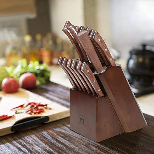 Vestaware Knife Set, 16-Piece Chef Knife Set with Wooden Block, StainlessSteel Kitchen Knives Set with Knife Sharpener, 6 Steak Knives and BonusScissors by Vestaware (Image #6)