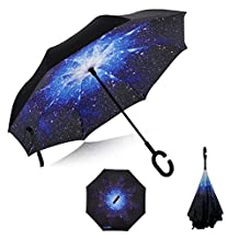 Innovative New Reverse Umbrella - Inverted Double-Layer Waterproof Straight Umbrella, Free-Standing and C-Shaped Handle and Umbrella Cover, Easy to Carry, to Prevent UV, Inward Folding, for Drivers and Passengers