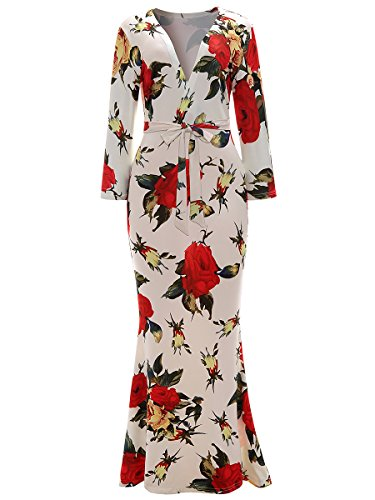 - lexiart Floral Maxi Dress Faux Wrap V Neck 3/4 Sleeve Summer Fall 2018 s