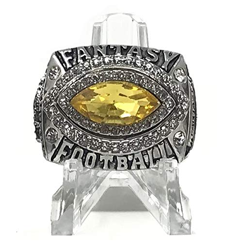 Legacy Rings Fantasy Football Championship Ring | No Year | Football Shaped with Clear Display Stand | Size 9-15 (10, Yellow)