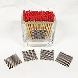 Glass Mini Vase Match Holder - Scalloped Square Striker (Red Tips - Honeycomb Striker)