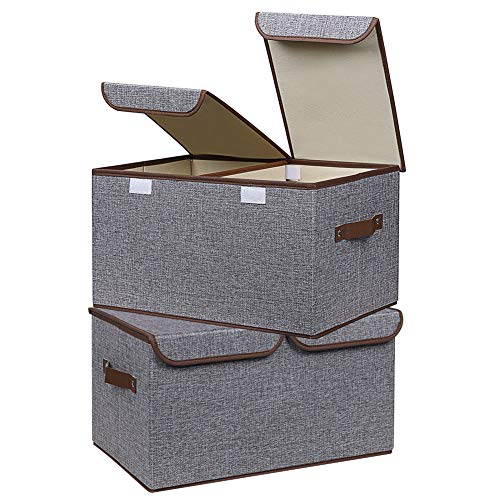 UUJOLY Large Storage Bins Linen Fabric Foldable Basket Cubes Organizer Storage Drawer with Lid and Handles for Home, Office, Closet, Bedroom, Nursery (Grey-2pcs)