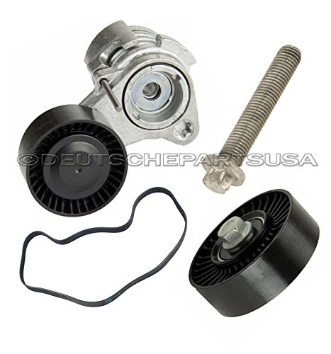 Hamburg-Technic Drive Belt + Tensioner + Install Bolt + Idler Pulley for BMW E60 E90 E91 SET (A/c Idler Pulley Bolt)