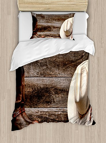 Western Decor Duvet Cover Set by Ambesonne, American West Rodeo White Straw Cowboy Hat with Lariat Leather Boots on Rustic Barn Wood, 2 Piece Bedding Set with 1 Pillow Sham, Twin / Twin XL Size (2 Piece Lariat)