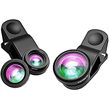 VicTsing 3 in 1 Clip-on 180 Degree Fisheye Lens Plus Wide Angle Lens Plus Macro Lens iPhone Camera Lens Kits for iPhone 8, Android and Smartphones with Flat Camera - Black