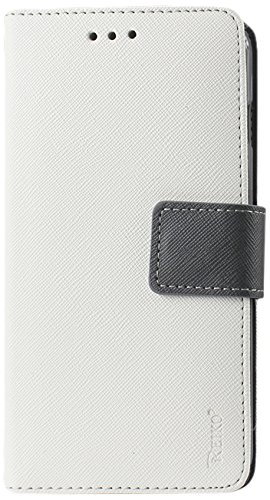 (Reiko Premium Wallet Case with Stand, Flip Cover and 2 Card Holder for Nokia Lumia 530 - Retail Packaging - White)