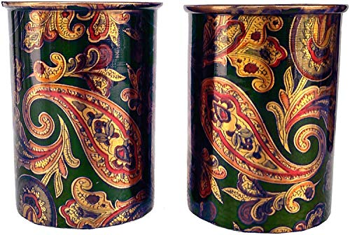 Rastogi Handicrafts Screen Printed Pitcher and 2 Tumbler Set Serving Set jug and Glass  2 Tumbler
