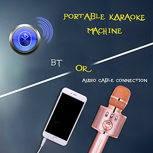 VERKB Wireless Karaoke Microphone with Speaker and FM, Easter or Birthday Gift Idea for Kids, 5in1 Magic Sound Portable Bluetooth karaoke Machine for Smartphone Home KTV, Party (Rose Gold) - Image 4