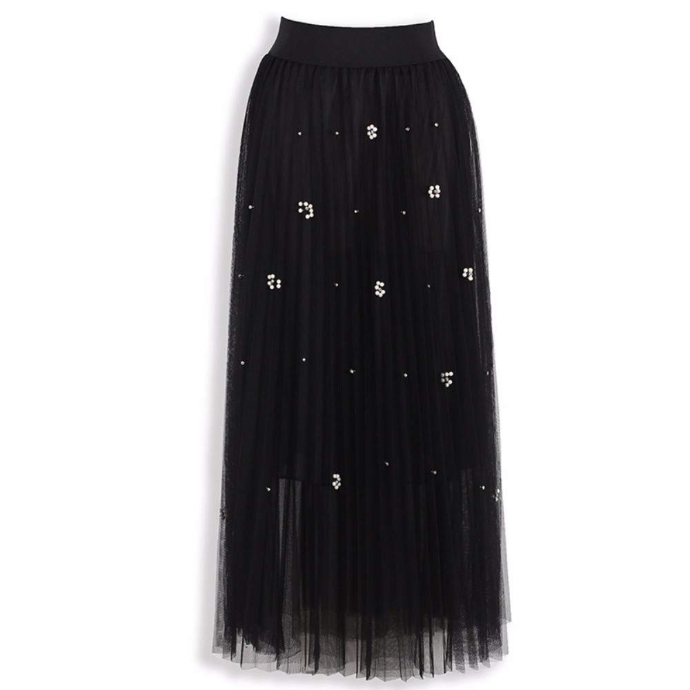Black ZPSPZ skirt Mesh Pleated Skirt Shiny Silk Nail Bead HalfLength Skirt high Waist Yarn Skirt Pendulum Skirt