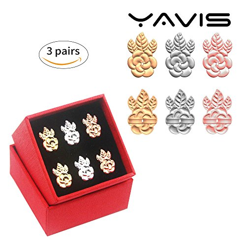 YAVIS Update Earring Lifters 3 Pairs of Adjustable Hypoallergenic Earring Backs Lifts Support for Women As Seen On Tv (18k Gold Plated, Silver Plated, Rose Gold Plated-Flower (Fine Silver Flower)