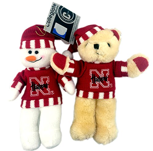 Bundle Pack of Two (2) Officially Licensed NCAA University Nebraska Cornhuskers Christmas Holiday Plush Snowman and Teddy Bear Fan Ornaments ()