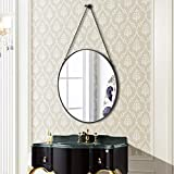 SIMMER STONE Round Wall Mirror, Metal Framed Mirror with Hanging Chain, Decorative Mirror for Bedroom, Living Room and Bathroom, Size 20', Black