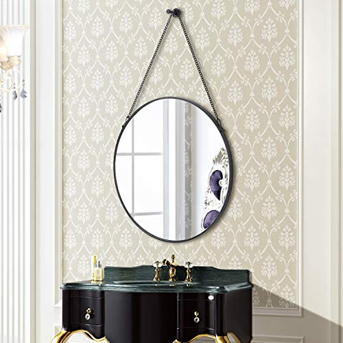 SIMMER STONE Round Wall Mirror, Metal Framed Mirror with Hanging Chain, Decorative - Black Decorative Mirrors Bathroom