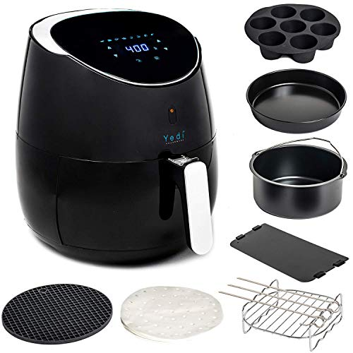 Fryer Kit Cooking - Yedi Total Package XL Air Fryer, Deluxe Accessory Kit, 100 Recipes Included, Cooking Basket Divider, 2Yr Warranty. Healthy Air Crisper Oiless Oven (5.8 QT) (Renewed)