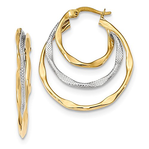 14k Two Tone Yellow Gold Textured Triple Hoop Earrings Ear Hoops Set Fine Jewelry Gifts For Women For Her ()