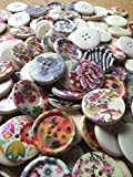 Mixedg WOODEN Round floral , flower, Butterfly, Flower Buttons. Size 30mm All supplied in a organza bag perfect little present for any crafter by DIY Wedding & Crafts