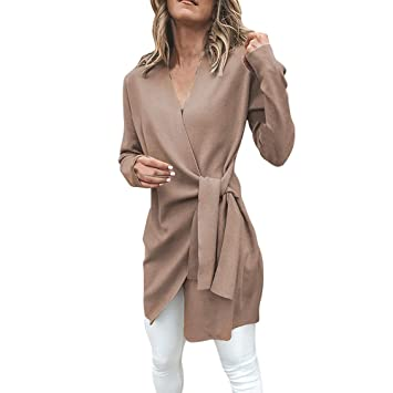 Womens Coats Winter Clearance!Besde Womens Fashion Casual Warm Lightweight Outwear Leather Tied Up V