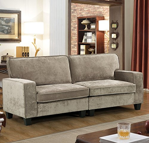 Merax PP039576 Upholstered 78in Sofa Living Room Loveseat Couch, (Beige 2)