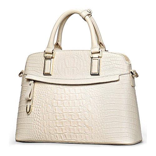 Purse Genuine Crocodile embossed and Handbags Handbags Bags Leather Handle Top Cowhide Women White 4zwqdq