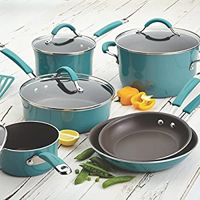 RACHAEL RAY Premium Cookware Set Food Network Nonstick Hard Porcelain Enamel Cookware 12 Piece, Agave Blue, Glass Lid