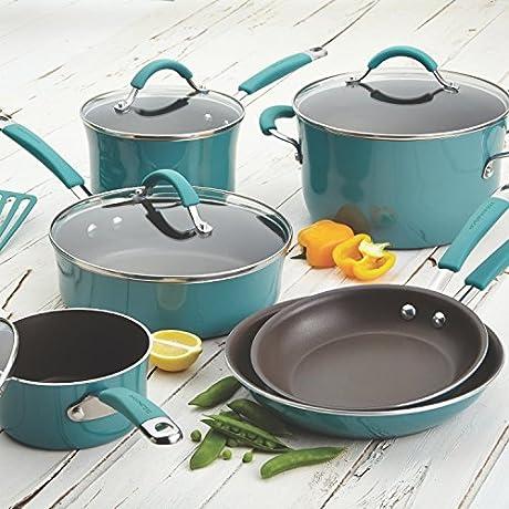 Premium 12Piece Cookware Set RACHAEL RAY Nonstick Porcelain Enamel Oven Safe Toxic Free Scratch Resistant No PFOA NO Cadmiun No Lead BLUE