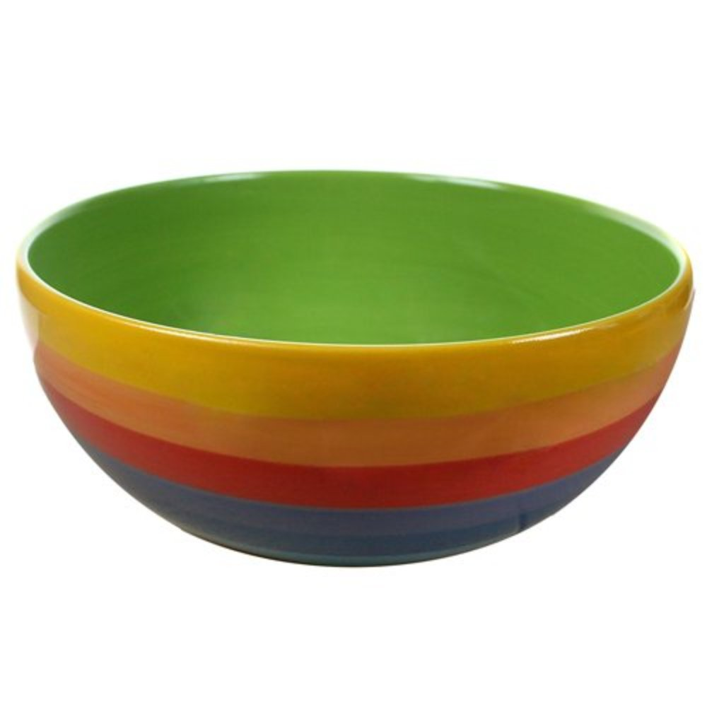 Ceramic RAINBOW STRIPE Design Salad Bowl for Picnics, Barbecues - Salad Bowl for indoor/outdoor dining - 20cm Buzz