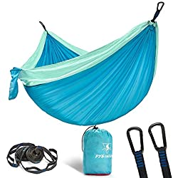 pys Double Camping Hammock for Backpacking,Two Person Size Parachute Suspension Hammock with Multi Colors Available, Lightweight and Compact,Portable Ideal for Outdoor Hiking (Lake Blue+Light Green)