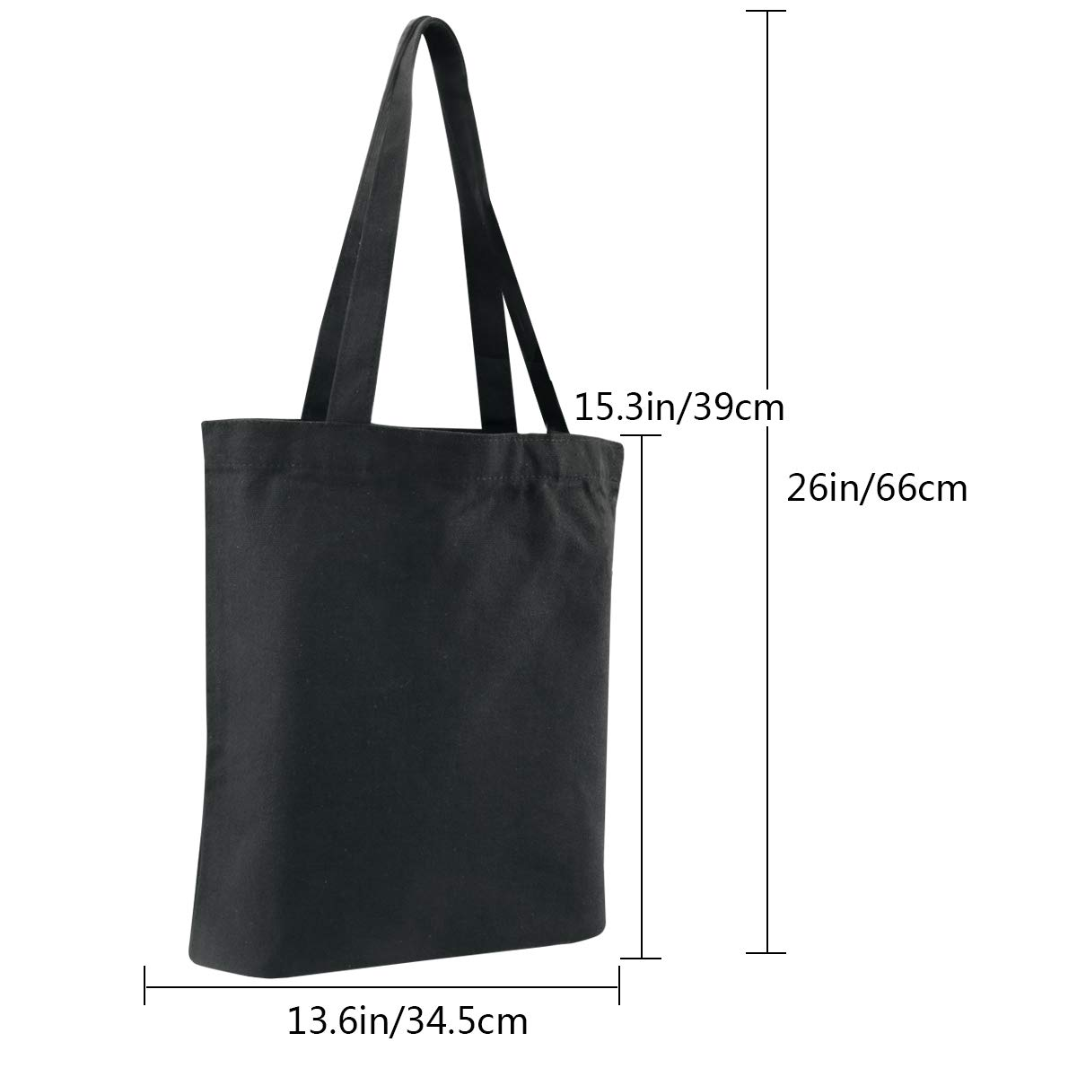 Faylapa 6Pack Canvas Tote Bags,Heavy Duty and Strong Shopping Grocery Bag Blank Cotton Bags for Decorating Crafts DIY,Painting Black 13.6x 15.3