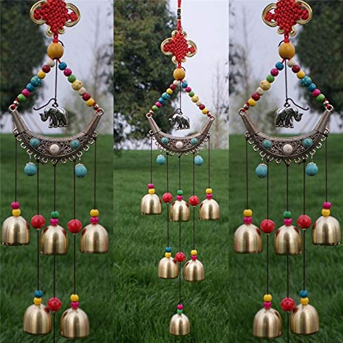 Cacys-Store - Ethnic Style Lucky Elephant Windchime Copper 6 Bells Outdoor Living Yard Garden Decor Metal Crafts Decoration