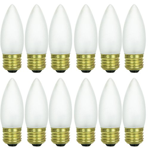 Frost Medium Base (Sunlite 40ETF/32/12PK 40W Incandescent Torpedo Tip Chandelier with Frosted Light Bulb and Medium E26 Base (12 Pack))