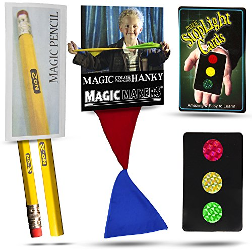 Magic Makers Color Changing Hanky, Stop Light Cards and Magic Pencil Tricks Colour Changing Card Trick